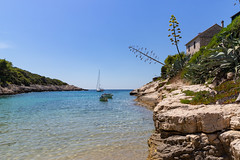 Steep coast at Salbunara beach Cove on Bisevo island, Croatia