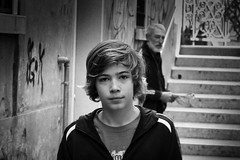 Young and Old (joseph_donnelly) Tags: young old man boy street candid bw black white