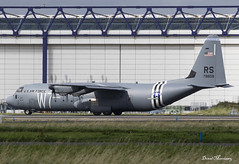 USAF C-130J 07-8609 (birrlad) Tags: shannon snn international airport ireland aircraft aviation airplane airplanes military airforce usaf lockheed c130 c130j 078609 invasionstripes w7 dday herky hercules taxi taxiway takeoff departing departure runway