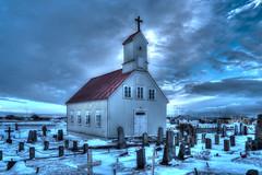 Stokkseyri (urban requiem) Tags: église church ice iceland islande chiesa kirche kirkja stokkseyri winter hiver hdr graveyard cimetière cemetery