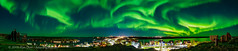 Panorama of the Aurora Dancing over Yellowknife (Amazing Sky Photography) Tags: panorama yellowknife pilot'smonument oldtown aurora northernlights acr nwt northwestterritories canada sky city urban enhanceddetails greatslavelake houseboats backbay yellowknifebay borealis allsky