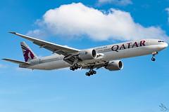 Qatar Airways - Boeing 777-3D7(ER) / A7-BAZ @ Manila (Miguel Cenon) Tags: qr777 qr77w qatar qatar77w qatar777 rpll a7bav manila nikon naia d3300 ppsg planespotting philippines airplane airplanespotting apegroup appgroup airport boeing b777 boeing777 b77w boeing77w twinengine ge90 wings widebody widebodyjet wing sky clouds plane window wheel winglet wide 777