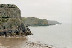High Cliffs (Bas Tempelman) Tags: gower peninsula wales united kingdom shore sea rocks stones cliffs bristol channel kodak portra 160 nikon f801s coast port eynon strand beach