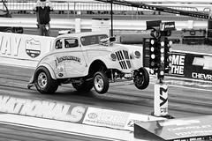 Up Up and Away (JY_Photos) Tags: dxooptics jyphotos indiana usa engine blower chevrolet supercharger badass sexy horsepower usnationals indianapolis dragracing nhra lucasoil nikon chevy scottrods aags gasser bw blackwhite oldschool phenomenon racing