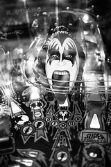 The Demon (Jeremy Beckman) Tags: blackandwhite lacountyfair pomona pinballmachine kiss game facepaint rock genesimmons face tongue chrome metal underglass detail abstract