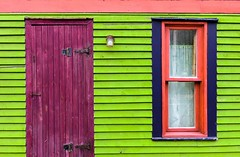 Door & Window (Karen_Chappell) Tags: door window house home green purple pink blue trim wood wooden paint painted clapboard stjohns city urban downtown newfoundland nfld canada eastcoast canonef24105mmf4lisusm atlanticcanada avalonpeninsula architecture jellybeanrow rowhouse curtains building color colours colour colors colourful multicoloured geometry geometric lines