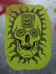 Dump Trump (Steve Taylor (Photography)) Tags: dumptrump uberfubs graffiti stencil streetart green black grey red spooky eerie scary paint hypnotise leakestreet skull teeth