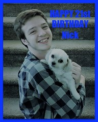 Happy 21st Birthday To Our Grandson Nick (marilyntunaitis) Tags: nick birthday bella dog pet grandson