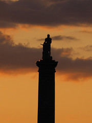 Nelson's Column at sunset (DaveKav) Tags: statue sunset silhouette montreal canada orange nelson nelsonscolumn monument 1809 placejacquescartier quebec