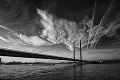On a Cold day in December///Op een Koude dag in December (jo.misere) Tags: wolken clouds dusseldorf germany duitsland reihnufer bw zw brug bridge brücke water wasser boot boat schiff