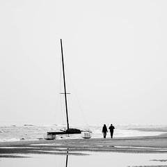 Enjoying the coastline (Lucas Harmsen) Tags: coastline beach catamaran blackandwhite holland europe sailing cinematic reflection