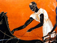 Charioteer, Getty Villa (EmperorNorton47) Tags: malibu california gettyvilla photo digital summer interior museum greek ancientgreek art ceramics blackfigure charioteer man chipped