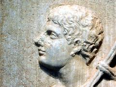 Young Man on a Funeral Stela, Getty Villa (EmperorNorton47) Tags: malibu california gettyvilla photo digital summer interior museum greek ancientgreek art gravestone stela sculpture man profile