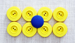 8 yellow + 1 blue = 9 (Monceau) Tags: yellow blue 9 buttons aligned macro white woven background fabric nine macromondays symmetry