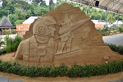 Poe Dameron and X-wing (chooyutshing) Tags: sentosasandstation starwarsedition poedameron xwing sandsculpture exhibition silosobeach sentosa singapore