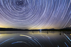 Lake Henshaw Star Trails (slworking2) Tags: santaysabel california unitedstatesofamerica lake lakehenshaw sandiego stars sky nightsky startrails starstax reflection