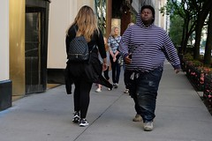 Big Dude on Michigan Ave. (dangaken) Tags: city summer urban chicago illinois fuji il chi fujifilm chicagoil windycity cityofbroadshoulders fujixmount fujixt2 fujifilmxt2 street photography candid streetphotography dailylife streetshooting photographyurban fujifilmstreetphotography stripes fat obese michiganave magnificentmile magmile hoodie large