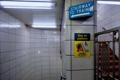 Stairway to Trains (dangaken) Tags: chi chicago il illinois chicagoil fuji fujifilm fujifilmxt2 fujixt2 fujixmount summer cityofbroadshoulders urban city windycity cta chicagotransitauthority el l ltrain chicagol subway subwayphotography transit publictransit masstransit transportation train travel commuter chicagoltrain elevatedtrain elevatedline eltrain elevated station subwaycar sign stairs blueline clintonblueline fluorescentlight fluorescent fluorescentbulb subwaytile