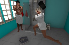 OH! Nooo! (antoniohunter55) Tags: maitreya signature gianni secondlife catwa bento funny nomatch hair noche tommy towel essentials oo bathroom scale boof off scales pose foxcity photo booth cleanse