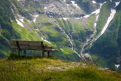 Engelberg (Valérie C) Tags: switzerland mountain nature bench landscape water snow green