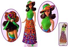 1973 BEST BUY #3206 (ModBarbieLover) Tags: 1973 maxidress bestbuy barbie vintage mod fashion doll mattel bubbles green orange walklively steffie