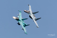 Sukhoi, Su-34 Fullback and Su-35 Flanker (www.frontlineaviation.co.uk) Tags: maks19 maks2019 zhukovsky moscow russia russianfalcons russianknights russiannavy sukhoi su30 su34 su35 su57 mig29 flanker fulcrum superjet be200es fullback ka52 alligator canon 500f4 500mmf4is frontlineaviation