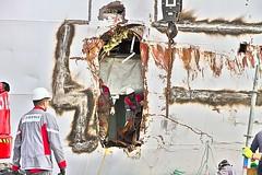 HOLE IN THE HULL passenger ship ASTOR (Filamon44) Tags: boat vessel hole trou coque hull cruise liner incident astor imo8506373 bateau paquebot réparation eiffage loxam repair chantiernaval passenger saintnazaire accident