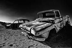 Lost cars (Jan Jungerius) Tags: africa afrika namibia namibië solitaire car auto abandoned verval verlaten decay verfall verlassen sand zand zwartwit schwarzweis blackandwhite blackwhite noiretblanc nikond750 tamronsp2470mm lost