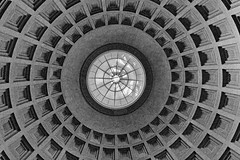 set the controls for the heart of the sun (Francis Mansell) Tags: grainy dome cupola pattern circle square skylight nationalgalleryofart washington dc building architecture monochrome blackwhite niksilverefexpro2 interior