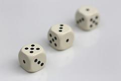 (1 + 3 + 5 = 9) x 6 (HansHolt) Tags: dice dices 1 3 5 9 addition sum tabletop macro dof canoneos6d canonef100mmf28macrousm macromondays nine hmm