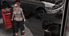 Red's Garage (Miru in SL) Tags: secondlife sl suicidegirls garage cat animal red reds tattoos rock girl sass clothing vegas tattoo helamiyo poses darkness event on9 shoes vinyl avanti shi hair fetch accessories