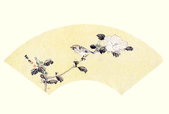 Rose-of-sharon and Eurasian tree sparrow (Japanese Flower and Bird Art) Tags: flower roseofsharon hibiscus syriacus malvaceae keibun matsumura maruyama shijo woodblock picture book japan japanese art readercollection