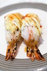 Prawn sushi (leadin2) Tags: eos m6 canon 2017 canonefs35mmf28macroisstm dining table 35mm macro f28 efs restaurant food sauce prawn sushi japanese australia melbourne