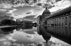 The Christian Science Plaza in Boston (WilliamND4) Tags: blackandwhite boston reflection clouds sky architecture nikon d750