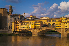 Ponte Vecchio Golden Hour (RobertCross1 (off and on)) Tags: a7rii alpha arno emount europe fe50mmf18 firenze florence ilce7rm2 italia italy palazzovecchio pontevecchio sony toscana tuscany architecture bridge city cityscape clouds fullframe goldenhour landscape medieval mirrorless river sunset urban water