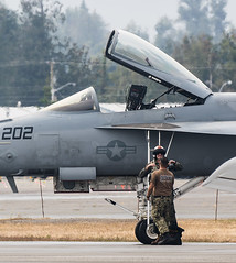 US Navy F/A-18E Super Hornet at Abbotsford International Airshow 2019 (Peter Starling) Tags: park canada demo fly bc aircraft abby columbia demonstration british f18 tac past fa18 tactical groundcrew f18e tacdemo peterstarling abbyairshow show bug display air boeing douglas usn 202 superbug mcdonnell