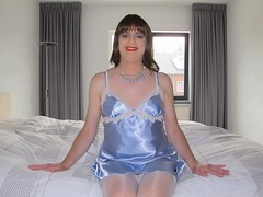 Bedtime fun (Paula Satijn) Tags: sexy hot girl babe satin silk silky stockings legs shiny tgirl feminine seductive sensual fun joy happy smile bed blue white lace tranny bedroom nightie chemise nightdress lipstick necklace sweet cute elegant lady slip
