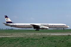 N911CL_1976-09_MUC_1200_NK (stefanmuc2001) Tags: n911cl capitolairways capitolinternationalairways dc8 dc861 douglas douglasdc8 mcdonnelldouglas airliner jetliner aircraft plane flugzeug 1976 muc eddm münchen munich riem flughafenriem münchenriem munichriem airport flughafen kodachrome k25 aircraftslide slidescan