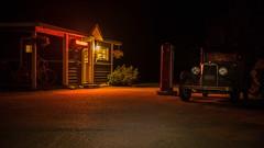 No Vacancy (Sworldguy) Tags: oldcar johnstoncanyon gasstation novacancy office gaspump redlight bloom ambientlight cast nightscene relic sonya73 a7iii longexposure banffnationalpark antique