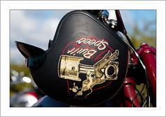Built for speed (G. Postlethwaite esq.) Tags: dof derbyshire heagewindmill unlimitedphotos bokeh bonedome classicbikes closeup crashhelmet depth depthoffield motorbike motorcycle photoborder selectivefocus