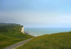 Lighthouse, England (majka44) Tags: england sea view lighthouse nature landscape cliffs sevensisters travel road green