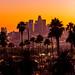 Los Angeles Skyline Palm Trees Sunset 2019