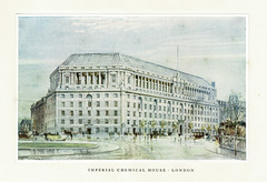 ICI - a short account of the activities of the company, 1929 - Imperial Chemical House, Millbank, Westminster, London (mikeyashworth) Tags: mikeashworthcollection ici imperialchemicalindustries 1929 imperialchemicalhouse millbank sirfrankbaines architecture london westminster streetscene painting illustration