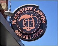 Peach State Lawyer Building Sign | Roswell Street | Marietta, GA (steveartist) Tags: sign roundsign peachstatelawyer logo stars peach weighscales sonydschx80 snapseed buildingdetails photostevefrenkel