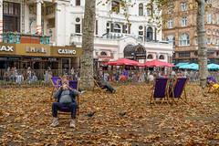Early Autumn (Julian Heritage) Tags: leicestersquare city london autumn urban candid people casino deckchairs fall autumnal