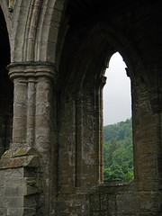 View through the arched window at the Tintern Abbey Ruins in Wales (albatz) Tags: silhouette building view arched window tintern abbey ruins wales