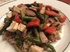 Miso-braised asparagus, red pepper, shiitake, red onion, tofu on garam massala scented brown jasmine rice (TomChatt) Tags: food homecooking parttimevegetarian