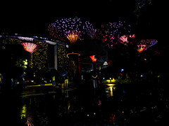 Supertree Grove (Steve Taylor (Photography)) Tags: supertreegrove garden gardensbythebay 18marinagardensdr umbrellas raining night architecture art digitalart contrast dark people asia singapore