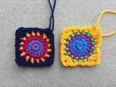 A tidier crochet square, and a crochet square on the wild side (crochetbug13) Tags: crochet crocheted crocheting crochetcircle crochetsquare grannysquare scrapyarn scrapyarncrochet crochetpurse crochettote crochetbag makers diy