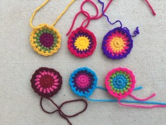 Six crochet circle centers for six granny squares (crochetbug13) Tags: crochet crocheted crocheting crochetcircle crochetsquare grannysquare scrapyarn scrapyarncrochet crochetpurse crochettote crochetbag makers diy